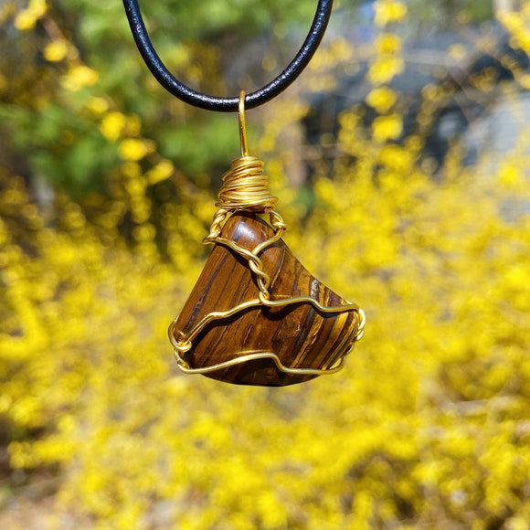 Tigers Eye Wire Wrap Necklace Gold