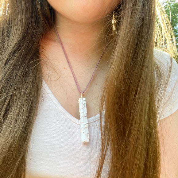 Selenite (Satin Spar) Wire Wrap Necklace