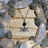 Black Onyx Triple Moon Necklace