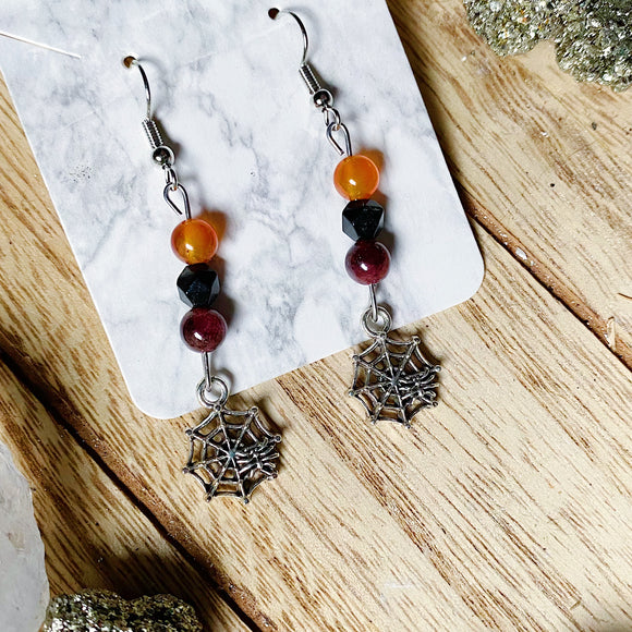 Tricolor Spider Web Earrings