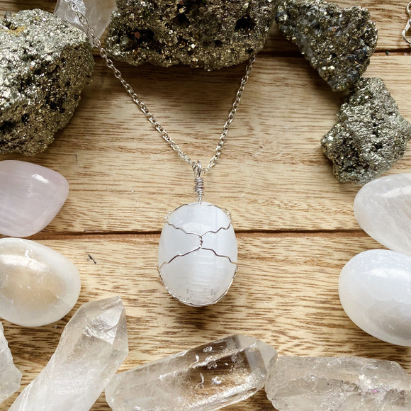 Selenite Wired Wrapped Necklace