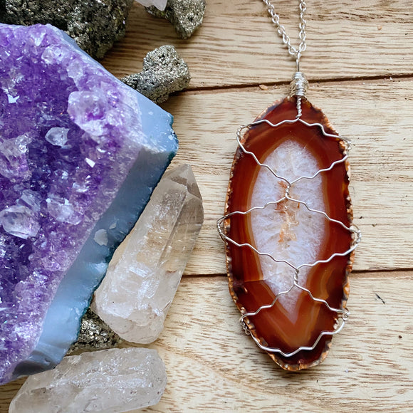 Agate Slice Wire Wrapped Necklace