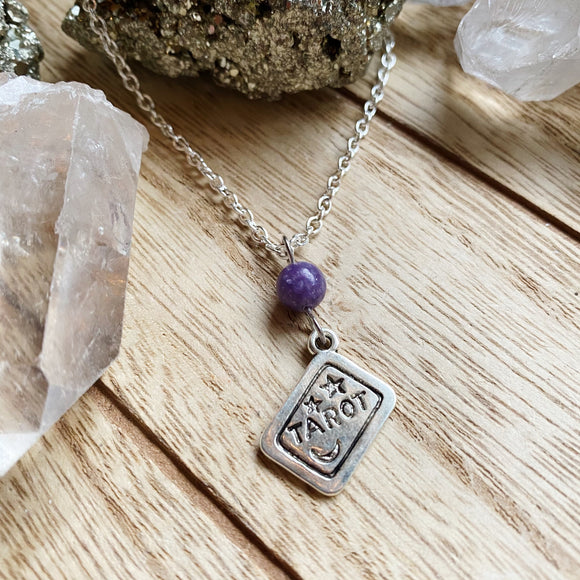 Lepidolite Tarot Card Necklace