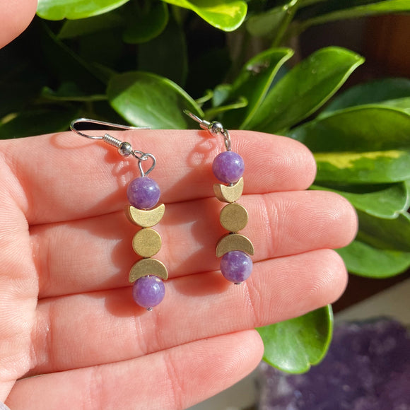 Lepidolite Triple Moon Goddess Earrings