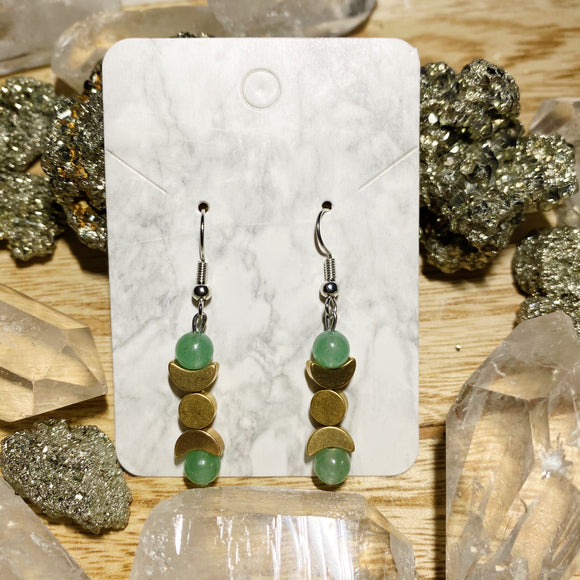 Aventurine Triple Moon Goddess Earrings