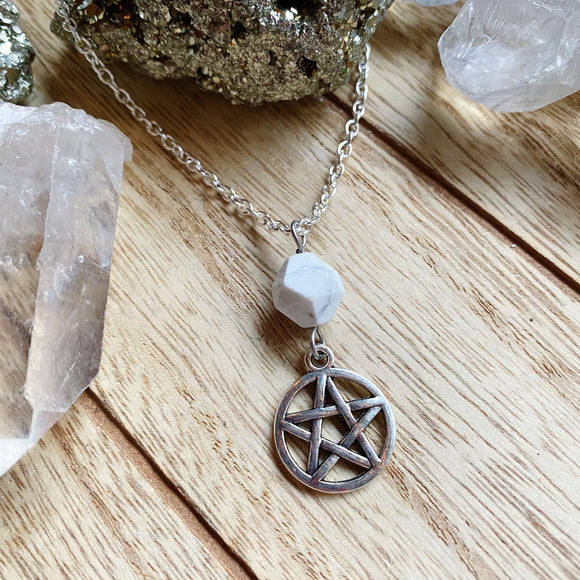 Howlite Pentagram Necklace