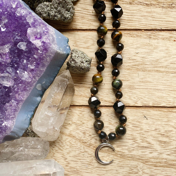 Creative Courage Crescent Moon Hand Knotted Choker (Tigers Eye, Obsidian & Onyx)