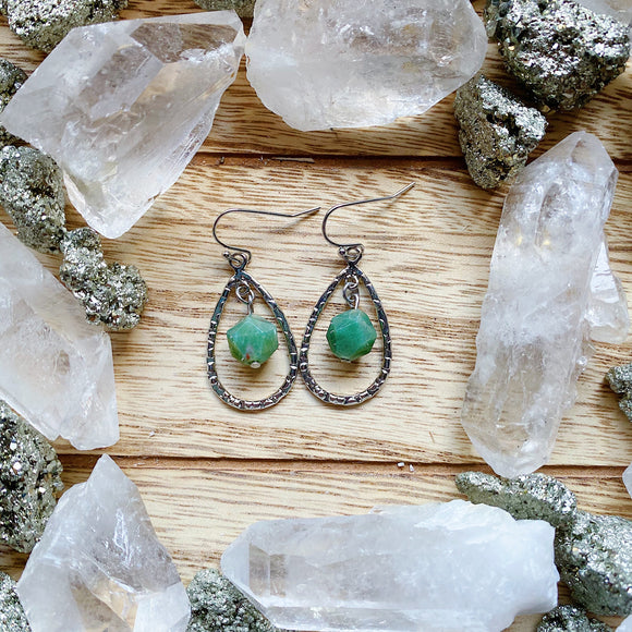 Moss Agate Drop Earrings