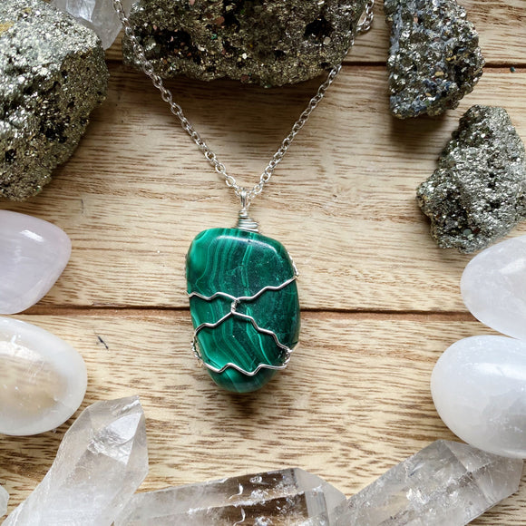 Malachite Wired Wrapped Necklace