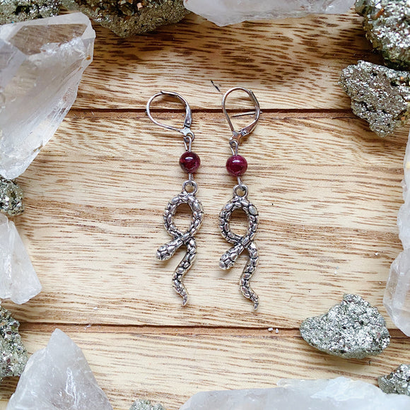Garnet Snake Earrings