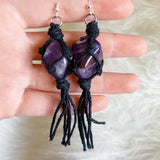 Amethyst Macrame Tassel Earrings 2