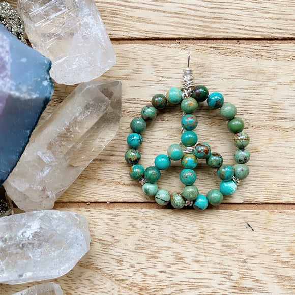 Chinese Turquoise Peace Sign Necklace