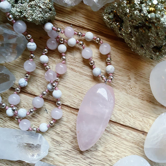 Rose Quartz Hand Knotted Necklace (Long)