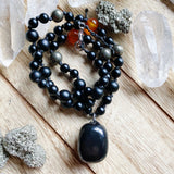 Shungite, Onyx, Carnelian & Pyrite Hand-knotted Necklace