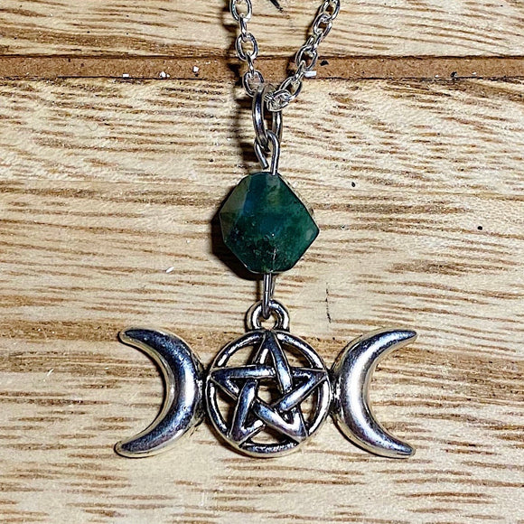 Moss Agate Triple Moon Necklace