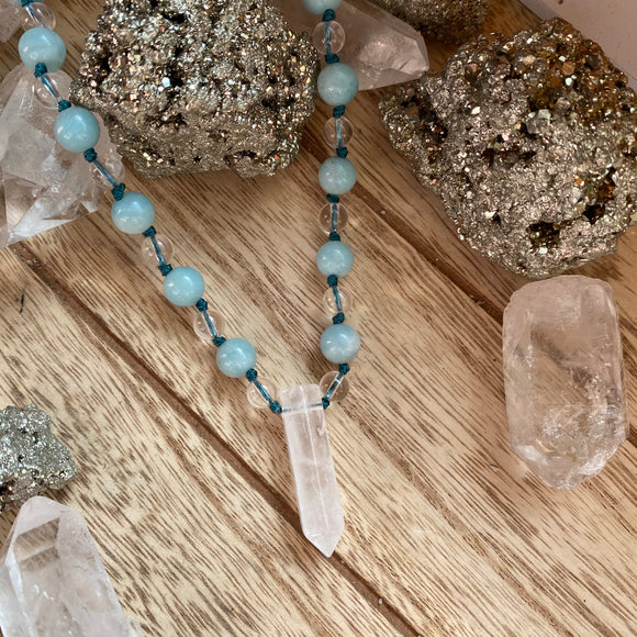 Amazonite & Clear Quartz Hand Knotted Choker