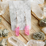 Pink Aura Quartz Earrings