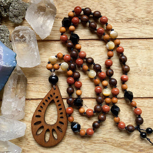 Goldstone Hand Knotted Necklace (Long)