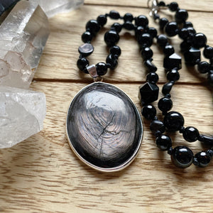 Hypersthene & Onyx Hand Knotted necklace!