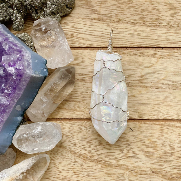Aura Quartz Wire Wrapped Necklace