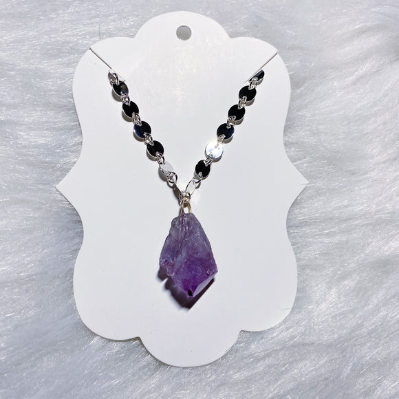 Amethyst Necklace Silver Disc