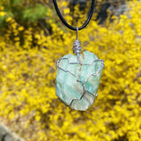 Green Calcite Wire Wrap Necklace Silver