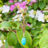 Turquoise Cactus Necklace Gold