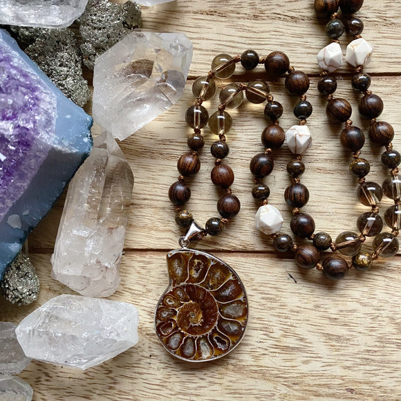 Ammonite Hand Knotted Necklace