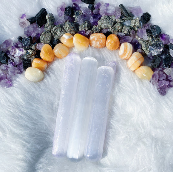 Selenite (Satin Spar) Massage Roller