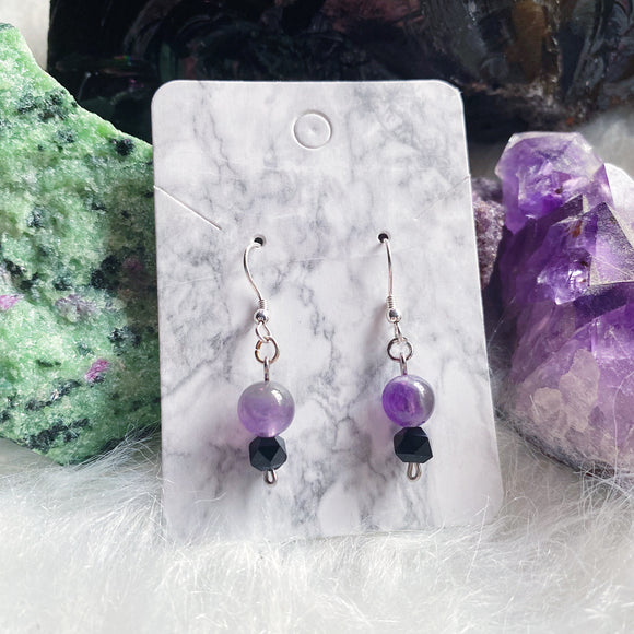 Amethyst & Black Onyx Earrings