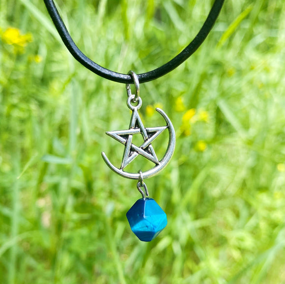 Hawks Eye Crescent Moon Pentagram Necklace
