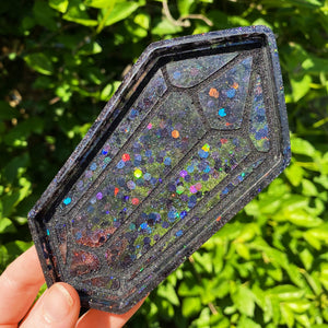 Black Holographic Crystal Tray