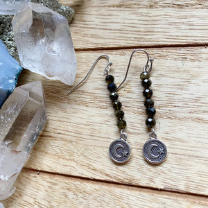 Gold Sheen Obsidian Star & Moon Earrings