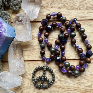 Amethyst & Pyrite Peace Sign Hand Knotted Necklace