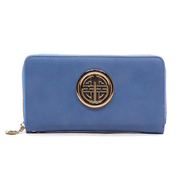 Dusty Blue Zip Around Wallet - Jourdan's Jewels