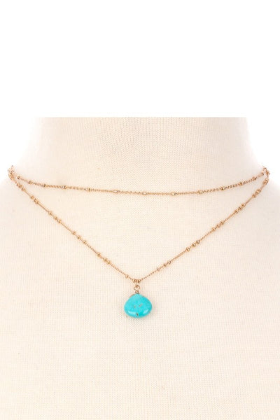Gold Layered Choker Necklace with Turquoise Stone - Jourdan's Jewels