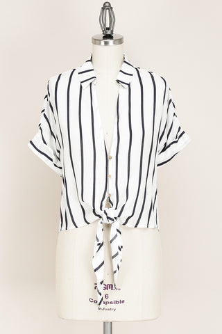 White and Navy Striped Knot Crop Top - Jourdan's Jewels