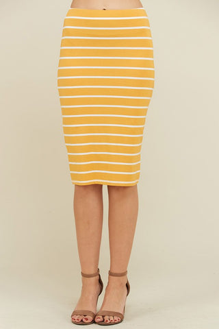Striped Midi Skirt - Mustard - Jourdan's Jewels