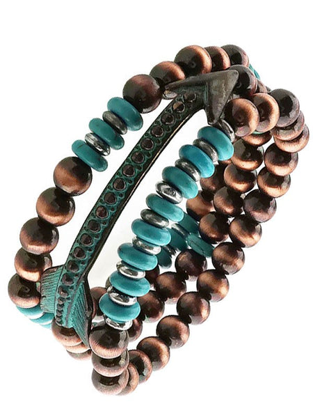 Turquoise and Brown Beaded Arrow Bracelet Set - Jourdan's Jewels