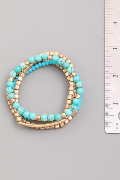 Turquoise and Gold Bracelet Stacking Set