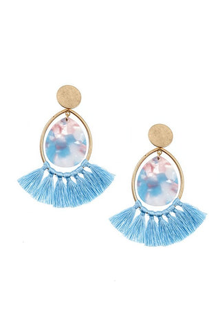 Teardrop Tassel Dangle Earrings - Blue - Jourdan's Jewels