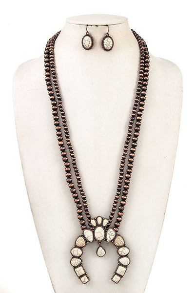 Long Double Stand Squash Blossom Necklace Set - Copper/White