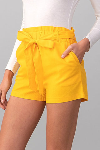Yellow Paper Bag Waist Shorts