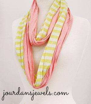 Pink Striped Infinity Scarf