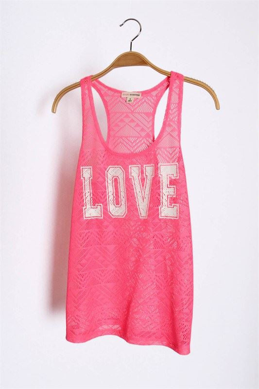 "Neon Pink Aztec Lace ""Love"" Tank Top"