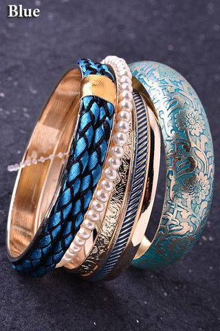 Blue and Gold Bangle Set - Jourdan's Jewels