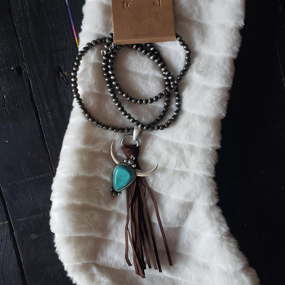 Longhorn Pendant and Tassel Necklace