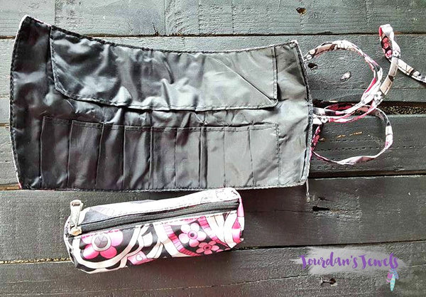 Pink and Grey Flower Roll-Up Cosmetic Bag - Jourdan's Jewels