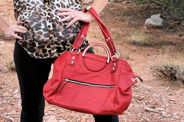 Red Purse with Gold Accents