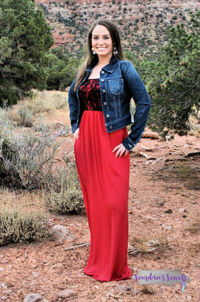 Brittney Tube Top Maxi Dress - Red and Black - SMALL - Jourdan's Jewels